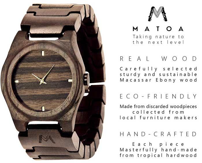 Matoa orologio in legno