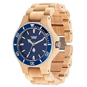 Orologio in legno Wewood Ghiera Acciaio Date MB Beige Blue